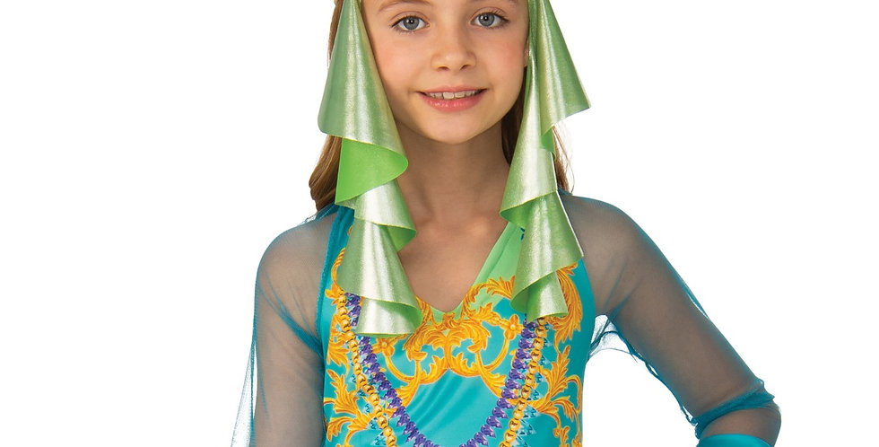 Arabian Dancer 4-6, 7-9,10-12 years includes headscarf and jumpsuit.
