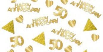 50th Gold Sparkling Wedding Anniversary Table Invite Confetti
