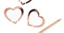 Rose Gold Heart Glass Markers - 6cm (10pk)