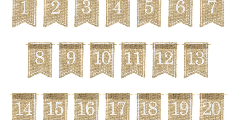 Table numbers made of jute with white print, set contains numbers from 1 to 20,