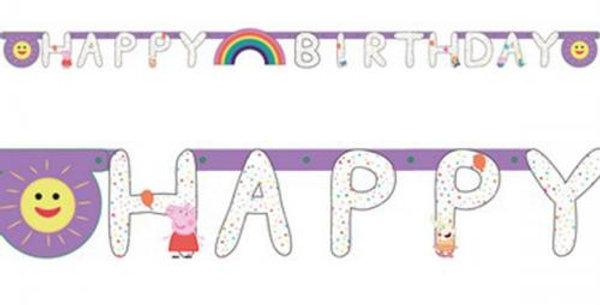Banner Happy Birthday Peppa Pig Rainbow