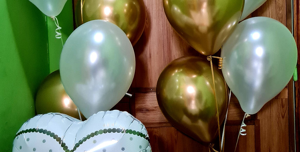 "2 Bunches of Chrome gold & pearl 12"" latex + foil wedding balloon"