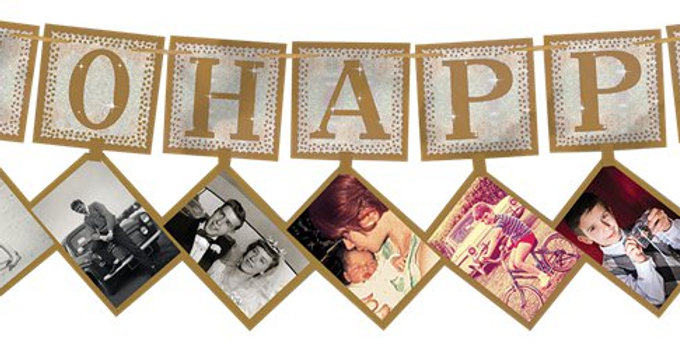 50th Gold Sparkling Wedding Anniversary Photo Garland (each)
