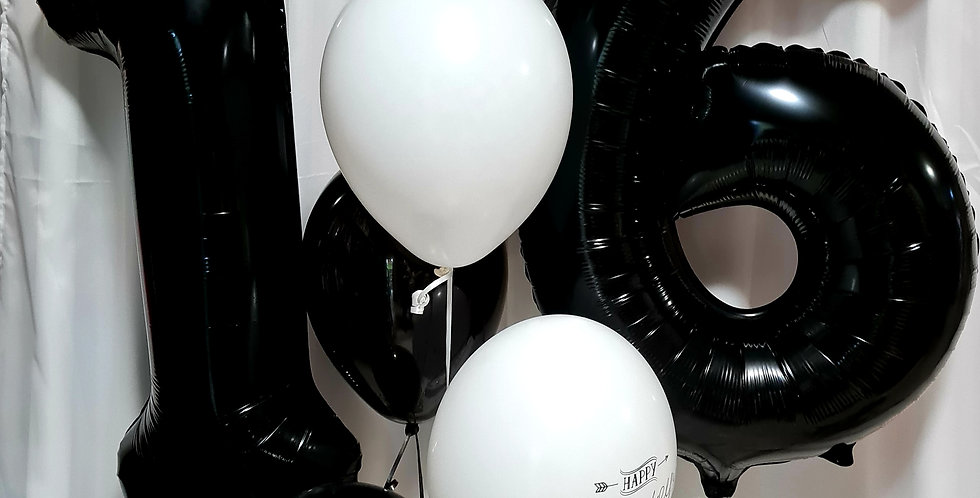 """2 foil 34"""" numbers with 5 latex 12"""" balloons including helium"""