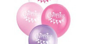 12''Christening Pink / Blue Balloons 8CT.
