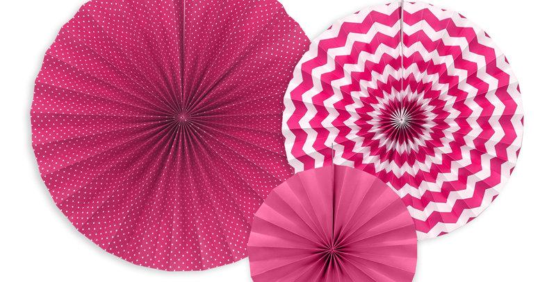 Decorative rosettes, fuchsia 3pk