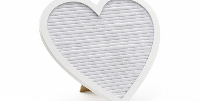 Felt Letter board in the shape of a heart in a wooden frame in white colour. Set