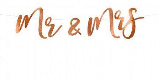 Banner Mr & Mrs, rose gold, 16.5x68cm