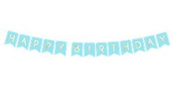 Pastel blue & Gold Happy Birthday Banner - 1.7m (each