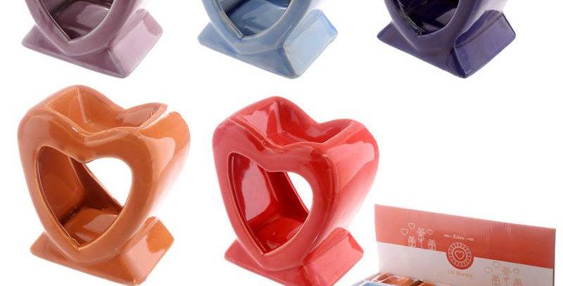 Bright Single Colour Heart Shaped Oil burner 8cm x 7.5 cm x 4cm