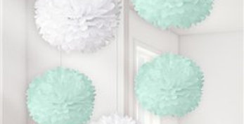 Baby Wishes White & Mint Pom Poms (5pk)