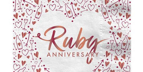 40th Ruby Wedding Anniversary Napkins - 33cm 16pk