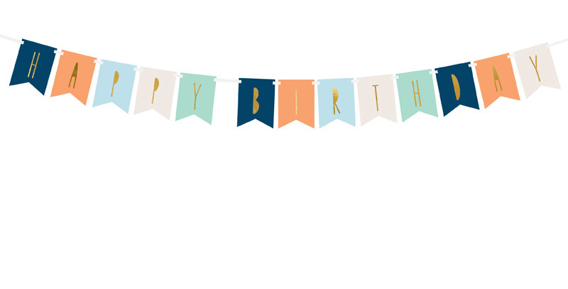 Banner Happy Birthday, mix, 11.5 x 140 cm blues