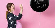 Balloon Gender Reveal Boy, black with white inscription Boy or Girl, prefilled w