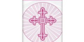 Pink Radiant Cross Plastic Tablecover