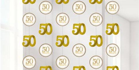 50th Gold Sparkling Wedding Anniversary String Decoration (6pk)