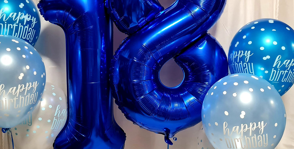 "Any 2 numbers foil 34"" any colour with 6 latex 12"" balloons  helium included."