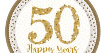 50th Gold Sparkling Wedding Anniversary Plates - 23cm Paper Plates (8pk)