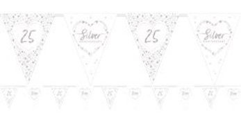 25th Silver Sparkling Wedding Anniversary Flag Bunting - 4m (each)