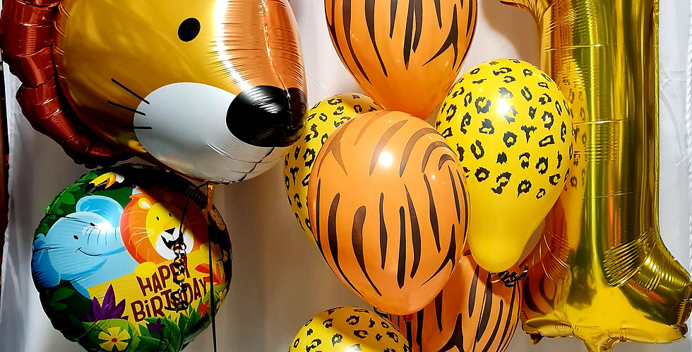 """1 Supershape balloon,1 number foil balloon,6 latex balloons,1x18"""" foil. Incl.hel"""