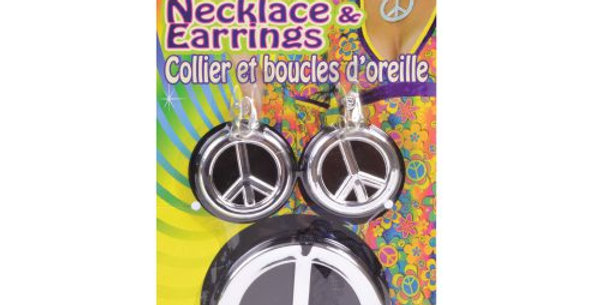 Peace Sign Necklace & Earrings