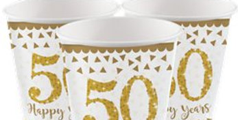 50th Gold Sparkling Wedding Anniversary Cups - 266ml Paper Party Cups (8pk)