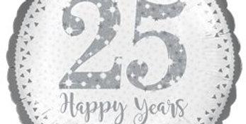 25th Silver Wedding Anniversary Balloon - 18'' Foil (each)