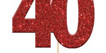 40th Ruby Wedding Anniversary Glitter Cupcake Toppers (12pk)