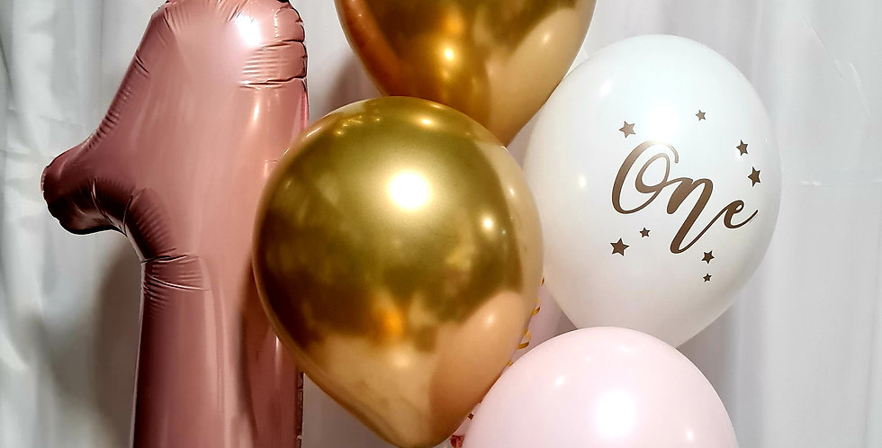 """30"""" pink foil no 1 balloon with crown plus 6×12"""" latex balloons including helium"""