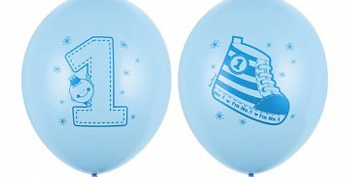 Strong Balloons, Sneaker - Number 1, Pastel Baby Blue, with blue double-sided pr
