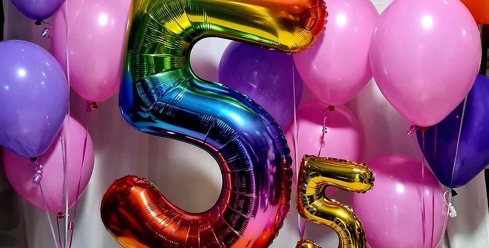 "Cluster of 1 Centrepiece. Foil number.10 plain balloons 12""."