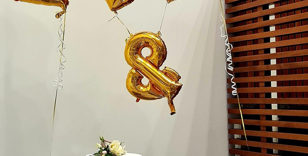 "2 letters 34"" plus & 26"" foil balloon including helium"