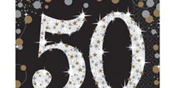Pink or gold Celebration Age 50 Paper Napkins - 33cm (16pk)