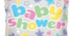 Baby Shower Square, Hearts & Stars - 18 '' foil