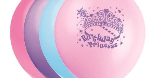 Princess Party Latex 12'' Printed Balloons 1 Side 8pk