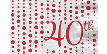 40th Ruby Sparkle & Shine Wedding Anniversary Napkins - 33cm (16pk)