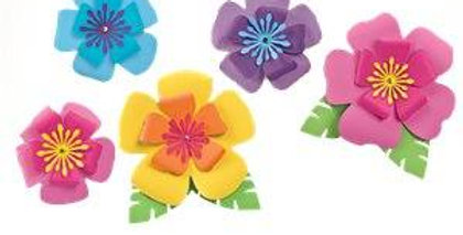 Hawaiian Hibiscus Paper Flower Decorations (5pk)