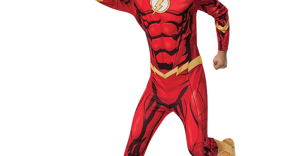 Flash child costume includes jumpsuit with attached boot tops, belt and head pie