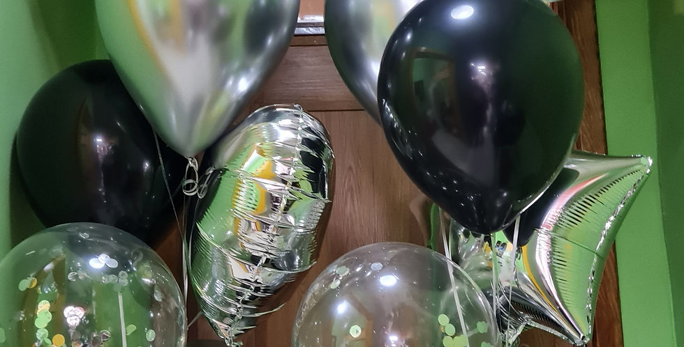 7 bunch balloon bouquet includes weight and ribbon