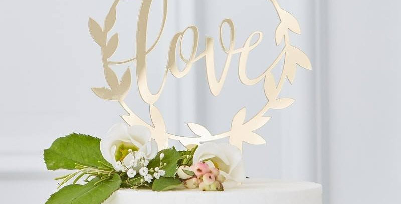 Gold Acrylic Love Cake Topper - Gold Wedding