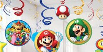 Super Mario Hanging Swirls (12pk