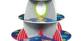 Blast Off Birthday 3 Tier Treat Stand 33cm x 40.1cm