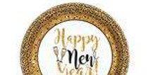 Gold Glitter New Year Dessert Paper Plates - 17cm (18pk)
