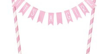 It's a Girl Baby Shower Bunting Cake Topper - 25cm (each)