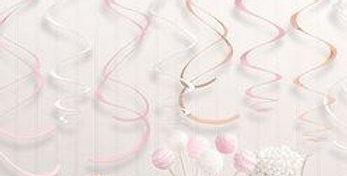 Rose Gold Blush Hanging Swirl Decorations - 56cm