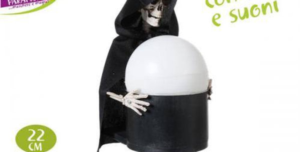 22cm Skeleton holding a lightup sphere with sound
