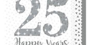 25th Silver Sparkling Wedding Anniversary Napkins - 33cm (16pk)