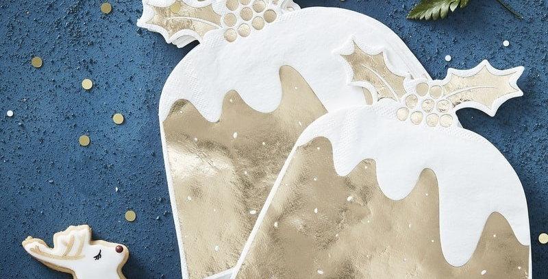 GOLD FOILED CHRISTMAS PUDDING PAPER NAPKINS - GOLD CHRISTMAS  5.99  12 napkins