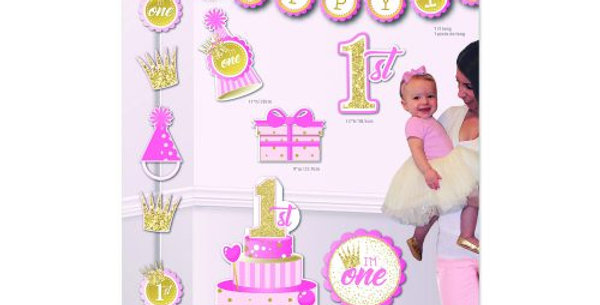 Birthday (1st) Girl Decor Kit  includes Banner,1 Decorating string, 2 centr