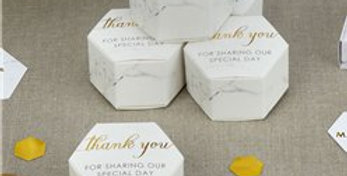 Scripted Marble Wedding Favour Boxes (10pk)